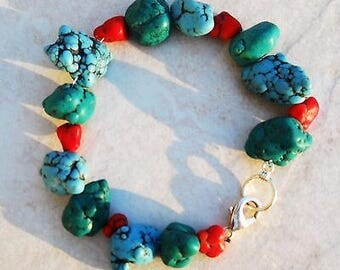 Turquoise bracelet handmade 3 color red,green,blue ,lg  stone, silver plateclasp