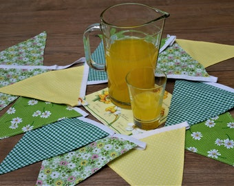 Lemon and Green Double Sided Cloth Floral Bunting Vintage Look Flower Bunting Rustic Birthday Party Bunting Garden Party Decor Summer House