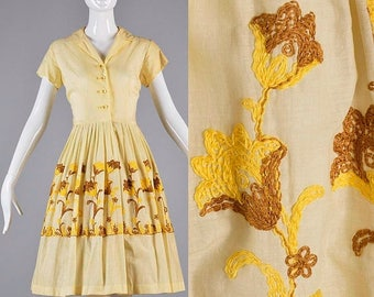 SALE Small 1950s Dress Yellow Short Sleeve Day Dress Summer Outfit Casual Wear Embroidered Flowers 1950s Vintage Shirt Waist Dress