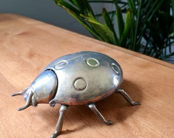 Vintage Brass Lady Bug Trinket Box | Brass Home Decor | Hollywood Regency