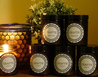 French Pear Scented Soy Wax Candle 175ml Amber Glass Jar w/Black Lid