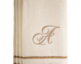 Set of 4 Fingertip Towels, 11 x 18 Inches Embroidered Towel For Bathroom/ Kitchen- Initial A (Ivory)
