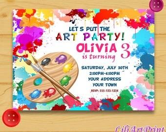 Art Party invitation, Art Party birthday invitation, Art Party invite, Art Party birthday party, Digital file
