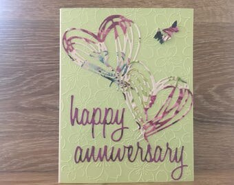 Cheery Happy Anniversary Card, Double Die Cut Hearts