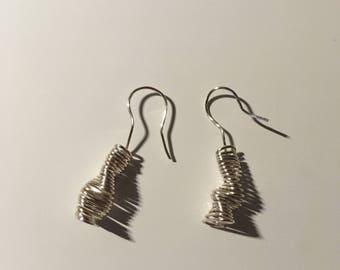Silver wire wrapped earring french hook