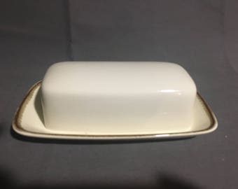 Vintage Mikasa Nature's Gallery D8000 Ceramic Cream Colored Butter Dish with Brown Trim