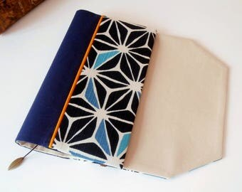 Protects-pocketbook adjustable fabric with bookmark (Japanese/indigo_bleu_beige light fabric)