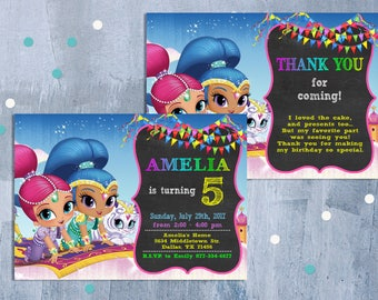 Shimmer and Shine Invitation with Free Thank You Card, Shimmer and Shine Invitations, Shimmer and Shine Birthday Party, Personalized JPEG