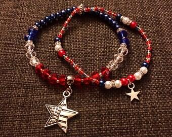 Patriotic Inspired Beaded Bracelet, Red, White, and Blue Bracelet, Star Bracelet, Flag Inspired Bracelet, Americana Bracelet