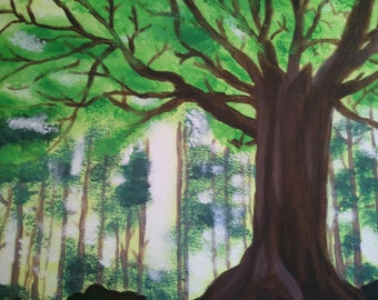 Can You See The Forest?: 12x16 inch Acrylic Painting on Canvas