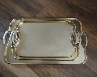 Nice Quality Vintage Retro Lumium Tray Set Aluminium