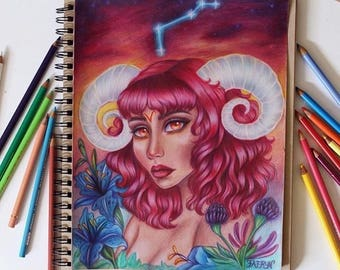 Aries zodiac, astrology, original colored pencil drawing, aries art, constellation