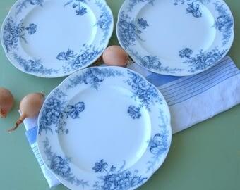 Set of 3 French Ironstone Dessert Plates. E. Bourgeois. Blue and White. Creamware.