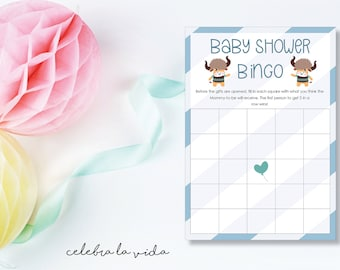 Instant Download Baby Shower Bingo. Baby Shower Game. Printable Baby Shower Baby Boy Game. Blue