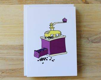 Coffee grinder // illustration // greeting card // gift card // blank inside