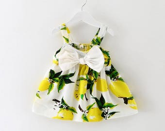 little lemons, lemons outfit, first birthday dress, summer dress, lemons dress