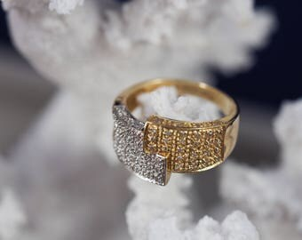 Yellow and White Gold Cluster Band Ring