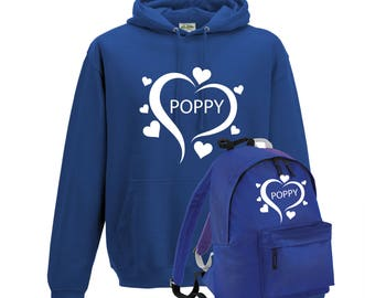 iLeisure Girls Personalised Styalised Large Heart with Name Hoody and Gym Bag Bundle