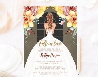 Fall bridal shower invitation, fall bridal shower invite, fall floral bridal shower invitation, bridal shower wedding dress, elegant bride