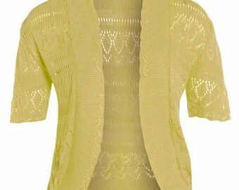 CUTE women's light yellow cropped half  sleeve knit summer crochet shrugs size 14-16 cheap shrugs