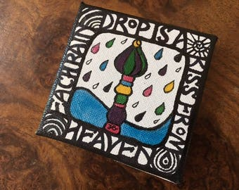 Miniature Colourful Enamel Painting on 7 x 7cm Square Canvas, inspired by Hundertwasser. With or Without Wooden Frame or Easel
