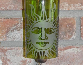 Sun ~ Sand-etched Green Wine Bottle Wind Bell