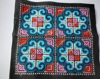 Hmong Cross stitch Embroidered fabric mix size &colors for craft work ,sewing, patch work ,hat ,handbag ,doll making, pet cloth