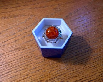 Sterling Silver (800) Amber Ring, Poland, Handmade, Vintage, GORGEOUS