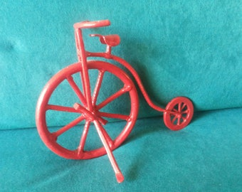 Decoration piece: Red unicycle - in iron - for decoration