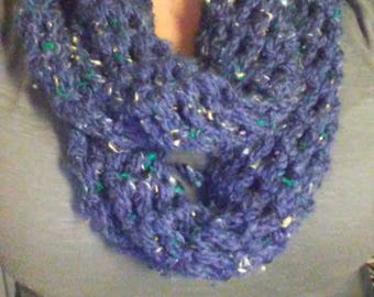 Blue Crocheted Infinity Scarf