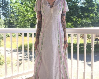Vintage 1970s Boho Prairie Dress