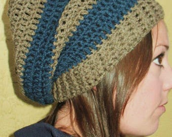 Brown and Blue Slouchy Beanie