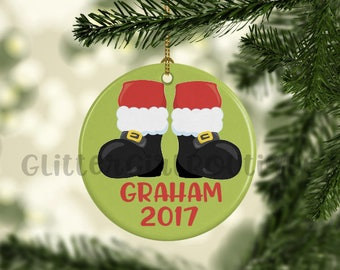 Christmas Ornament, Santa Ornament, Little Boy Ornament, Ornament for Kids, Porcelain Ornament, Custom Ornament | Personalized Ornament