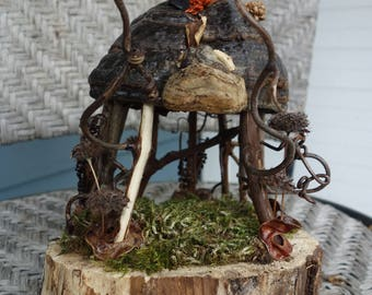 "Fairy Gazebo made of grape vines, fungus and other natural materials found in the forest. Mounted on wood about 8"" tall."