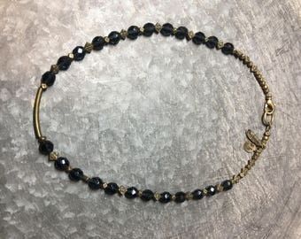 Navy crystals, antiqued bronze necklace.