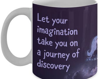 Magical Unicorn Mug, Custom-Designed Coffee Cup, Cool Novelty Gift for Women or Girls with a Follow Your Dreams Attitude with the Help of