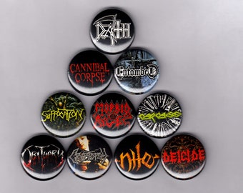 """Death Metal 1"""" Pins/Buttons (morbid angel carcass obituary entombed nile cannibal corpse vintage)"""