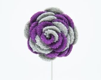 Ashley Gray/Purple Flower Lapel Pin
