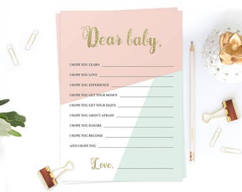 Dear Baby Wishes Mint and Coral Baby Shower Games Girl Pink and Gold Baby Wish Cards Wishes for Baby Printable Baby Shower Card Baby PDF GP1