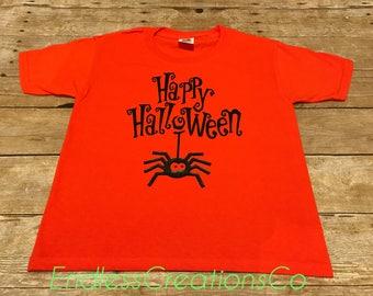 Hallowen Kids Shirt, Happy Halloween Kids Shirt, Spider Kids Shirt, Orange Halloween Kids Shirt, Halloween Themed Shirt