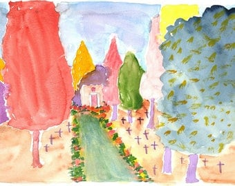Impressionist Watercolor Greetings Card: Memorial Garden Path, Marin | JackieSMontagueArt