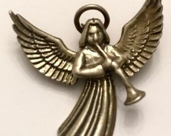 Vintage Sterling Silver 925 Herald Angel Pendant