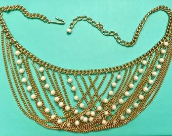 Vintage West Germany Gold Tone Chain and Ivory Color Bead Bib Necklace