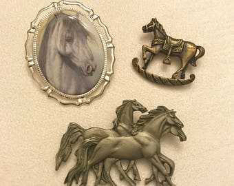 Vintage and Newer Horse Brooch Lot