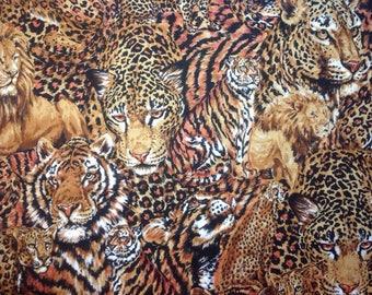 100% Cotton Quilting Fabric / Lion Tiger Cheetah  / Robert Kaufman  / Brown  / Exotic Animal / 1/2 yard