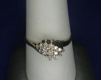 10k Solid Gold Cluster Ring