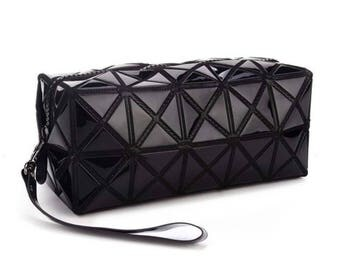Black  Geometric cosmetic bag