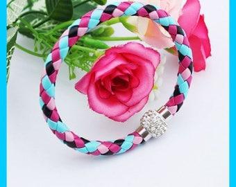 Colorful Leather Braid Bracelet with Rhinestone Bead