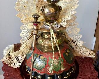 Robot assemblage sculpture - QUEEN IDA - Queen of the Golden Islands and all Rustopia!