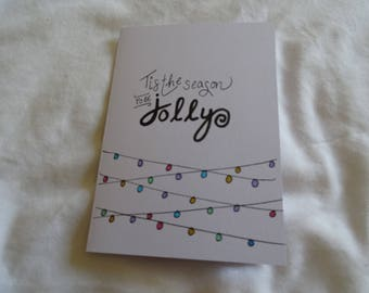 Pack of 5 Tis the Season to be Jolly Fairy Lights Card